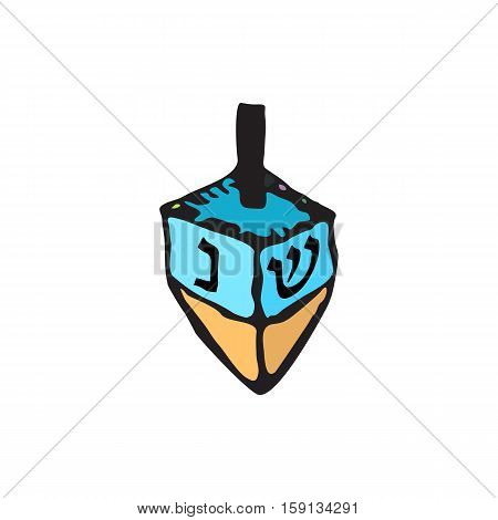 Chanukah sevivon. Doodle, zentangle, sketch, draw hand. Jewish religious holiday of Hanukkah. Hebrew letters Coloring. Vector illustration on isolated background