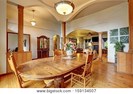Bright Dining Room With Open Floor Plan