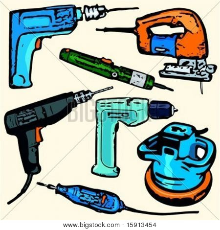 A set of 7 vector illustrations of power tools.