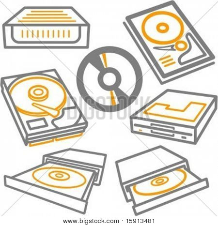 A set of 7 vector icons of computer CD drives, CDs, hard disc and removable rack.