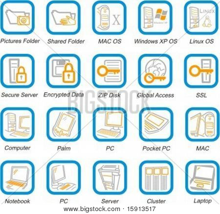 A set of 20 vector computer system, security, hardware and software pictograms.