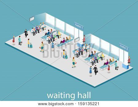 Isometric Flat 3D Concept Vector Interior Of Waiting Room In Airport .