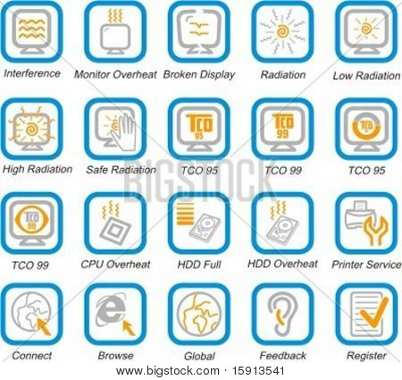 A set of 20 vector internet, media, communications, communities and PC health pictograms.