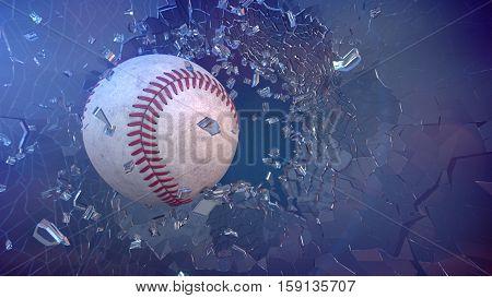 3D rendering of baseball through broken glass.
