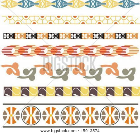 A set of 7 vector floral ornamental borders.