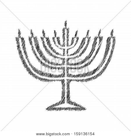 Chanukah candle black silhouette. Sketch. Hand drawing. Jewish religious holiday Hanukkah. Vector illustration on isolated background.