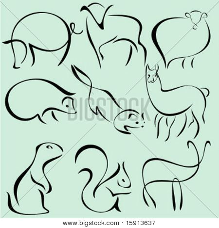 A set of 9 vector illustrations of animals in unique exquisite and ornamental style.