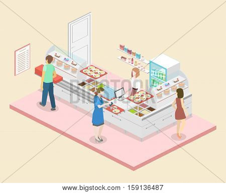 Isometric Flat 3D Vector Interior Of A Coffee Shop Or Canteen.