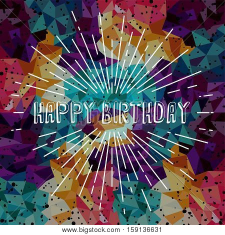 happy birthday greetings sunrays retro theme vector art