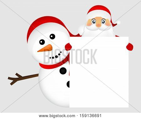 Santa Claus and snowman with white blank banner banner