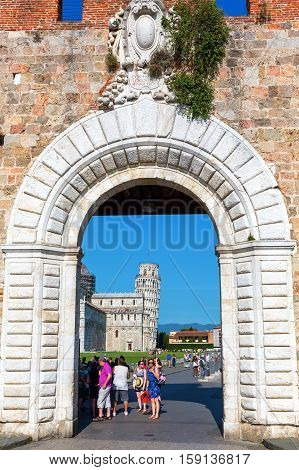 Historic City Gate Of Pisa