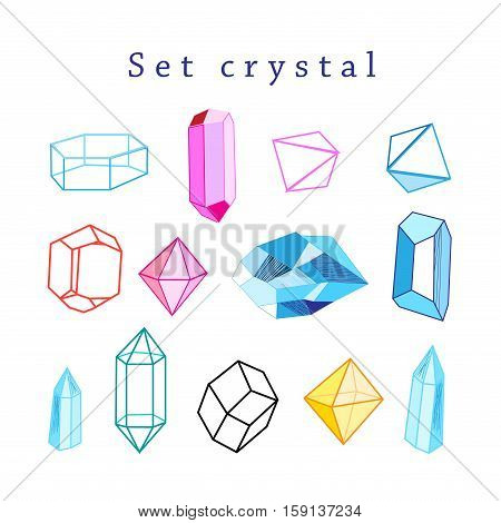 Vector set of multicolored crystals of different