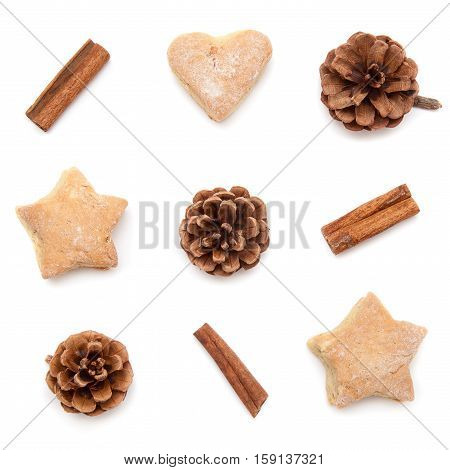 Pine cone, cinnamon, cookies christmas collection set on white background