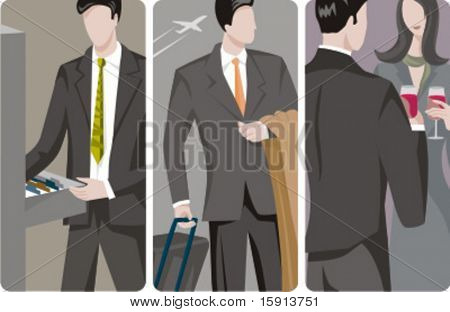 A set of 3 businessmen vector illustrations. 1) A businessman searching for a folder. 2) A businessman waiting at the airport and holding a suitcase. 3) Business people at a cocktail.