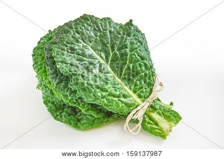 Raw organic savoy cabbage leaves isolated on white background