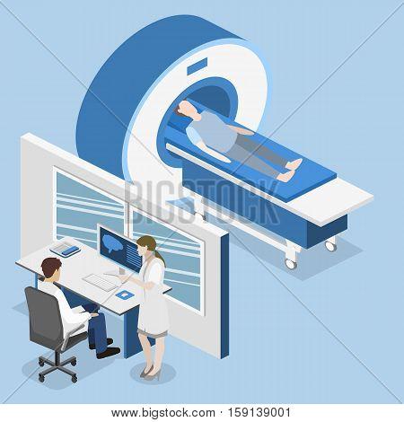 Isometric Flat 3D Concept Vector Hospital Medical Mri Web Illustration.