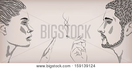 Woman smoking smoke cigarette men ban prohibit face to face profile. Vector horizontal beautiful lifestyle sign signboard close-up side view illustration color background