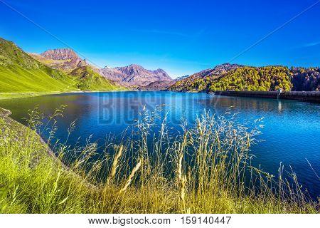 Lake Ritom In Swiss Alps, Piora, Canton Ticino, Switzerland