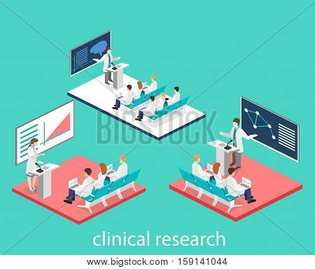 Isometric Flat 3D Concept Vector Of Conference Medical