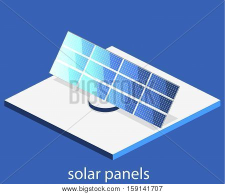 Isometric Flat 3D Vector Outside Solar Panels
