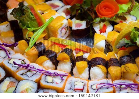 Sushi platter a variation of sushi with vegetables