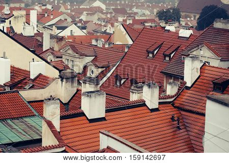 Terracotta Tiled Roofs With Chimneys