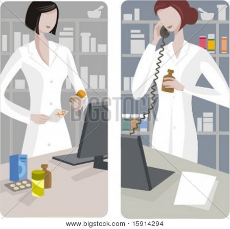 A set of 2 pharmacy illustrations.