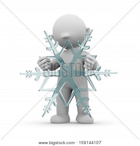 3d human with snowflake weather winter cold