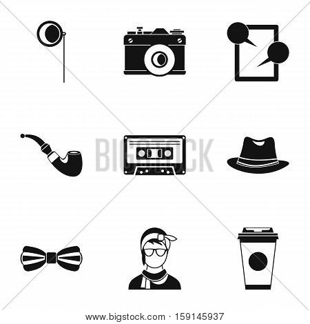 Trendy hipsters icons set. Simple illustration of 9 trendy hipsters vector icons for web