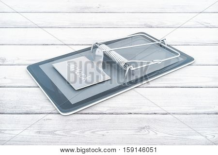 Mobile phone with mouse trap on white wooden background. Smartphone dependency concept. 3D Rendering