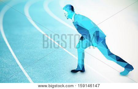 Side view of abstract polygonal businessman getting ready to run on blue running track. Competition concept