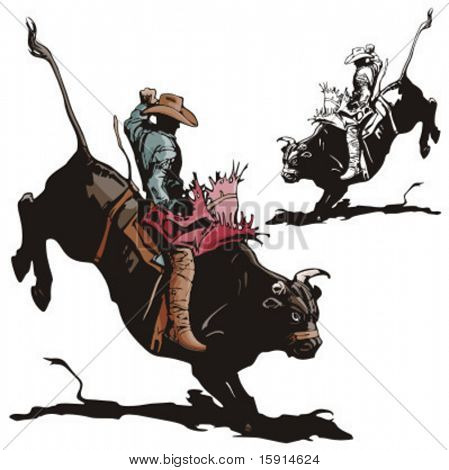 Illustration of a rodeo cowboy riding a bull.