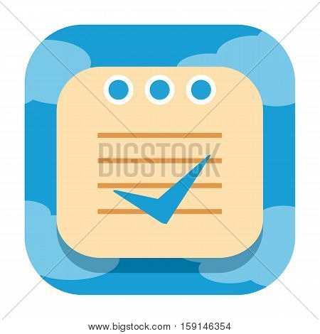 Checklist notepad cloud icon isolated on white background
