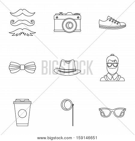 Hippie icons set. Outline illustration of 9 hippie vector icons for web