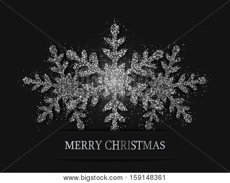 Christmas Background, Silver Glitter Snowflakes, Vector Illustration
