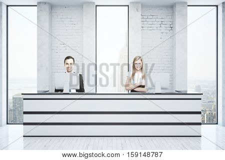 Cheerful young man and woman at white reception desk in bright interior with city view. 3D Rendering