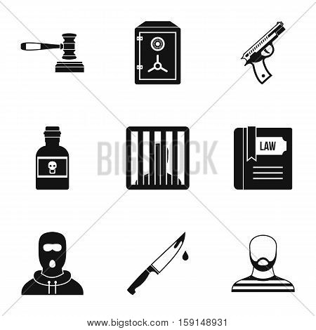 Crime icons set. Simple illustration of 9 crime vector icons for web