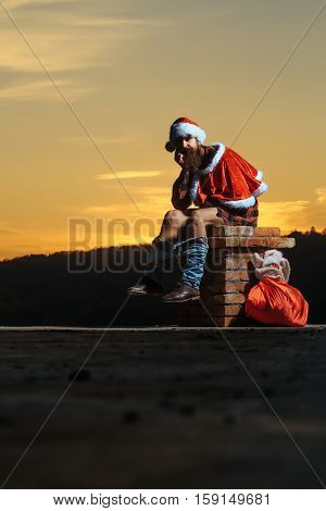 Christmas Bad Santa On Chimney