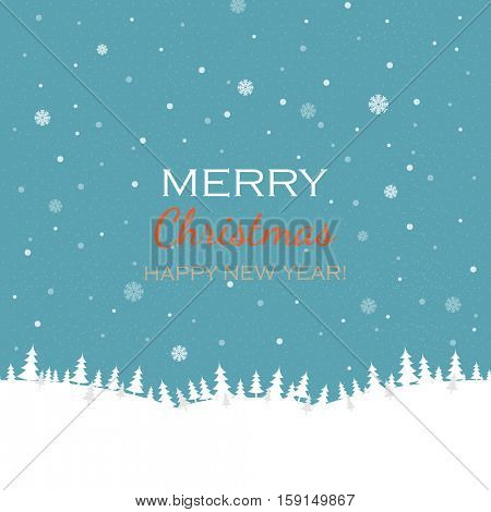 Christmas And New Year Card, Vector Illustration