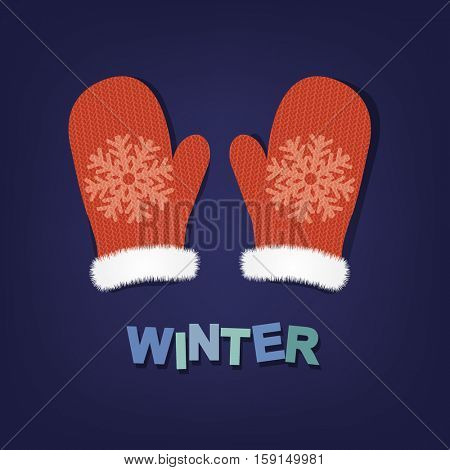 Winter Poster With Mittens, With Gradient Mesh, Vector Illustration