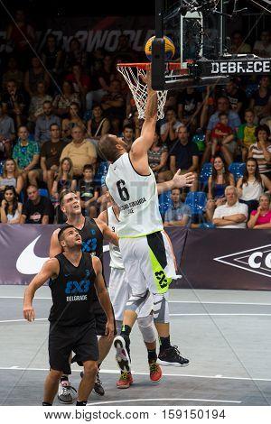 DEBRECEN - SEPTEMBER 8 : FIBA 3X3 BASKETBALL WORLD TOUR MASTERS - PLAYER DUSAN DOMOVIC BULUT MR BULLETPROOF - STREETBALL IN THE CENTER SQUARE SEPTEMBER 8 2016 DEBRECEN HUNGARIYA