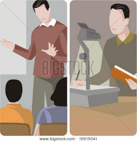 Teacher illustrations series.  1) General class teacher teaching a class in a classroom. 2) Teacher projecting a teaching materials.