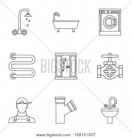 Sanitary appliances icons set. Outline illustration of 9 sanitary appliances vector icons for web