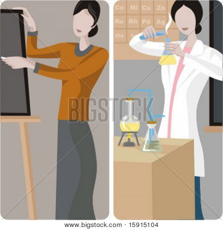 Teacher illustrations series. 1) General classes teacher writing on a blackboard in a classroom. 2) Chemistry teacher performing an experiment in a classroom.