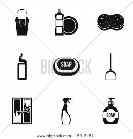 Sanitation icons set. Simple illustration of 9 sanitation vector icons for web