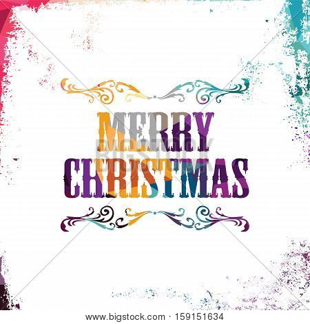merry christmas bstract colorful triangle geometrical greetings vector illustration