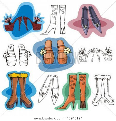 A set of 5 fashion illustrations including boots and shoes, in color and black and white renderings.
