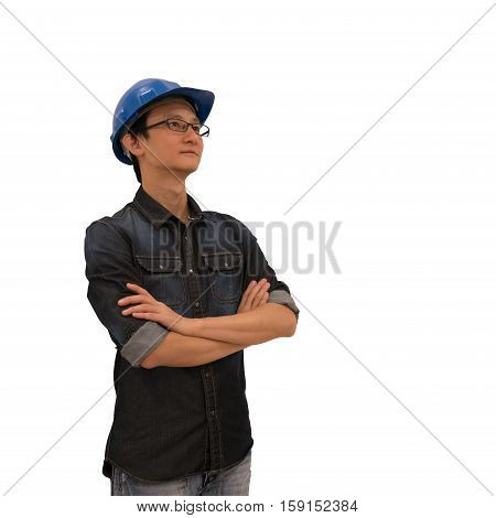 Asian architect or engineer looking upward with clipping path isolated on white background industry or architect or engineering concept young and handsome character look at copy space