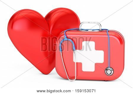 First aid kit with stethoscope and red heart. First Aid concept. 3D rendering isolated on white background