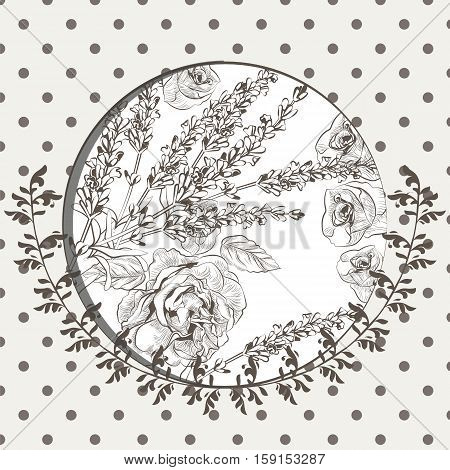 Vintage Floral Invitation card wreath. Vector Lavender and rose flowers on dotted background. Festive Postcard for weddings, ceremony, events. Hand drawn engraved technique